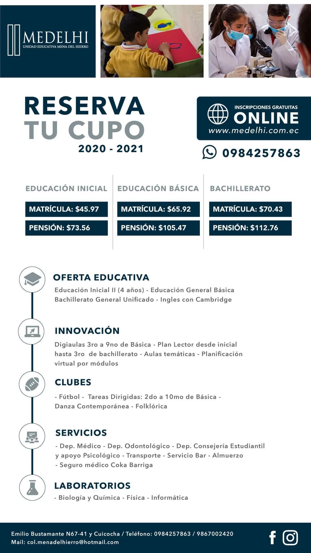 RESERVA TU CUPO ONLINE, MEDELHI 2020-2021
